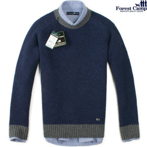 FOREST CAMP  Lambswool Round-Neck Sweater/라운드넥 배색