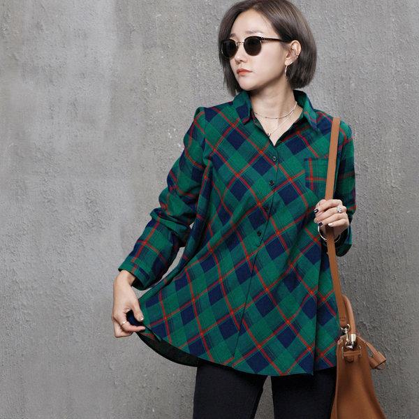 A589 A라인 체크 패턴 셔츠