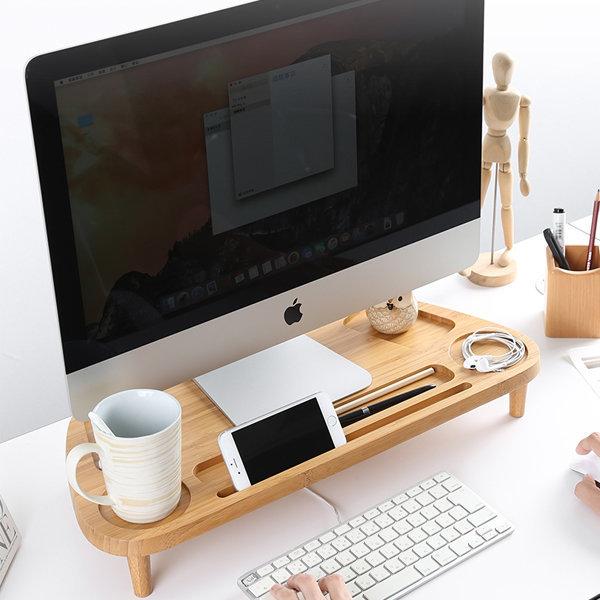 컴퓨터모니터받침대 대나무받침대 유형2
