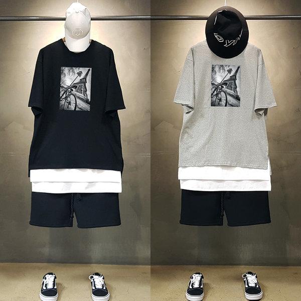 빠숑 오버핏 에펠탑 반팔티/오버핏반팔티/티셔츠