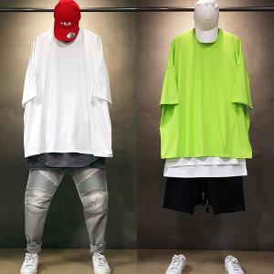 빠숑 박스 오버핏 무지 반팔티/오버핏반팔티/티셔츠