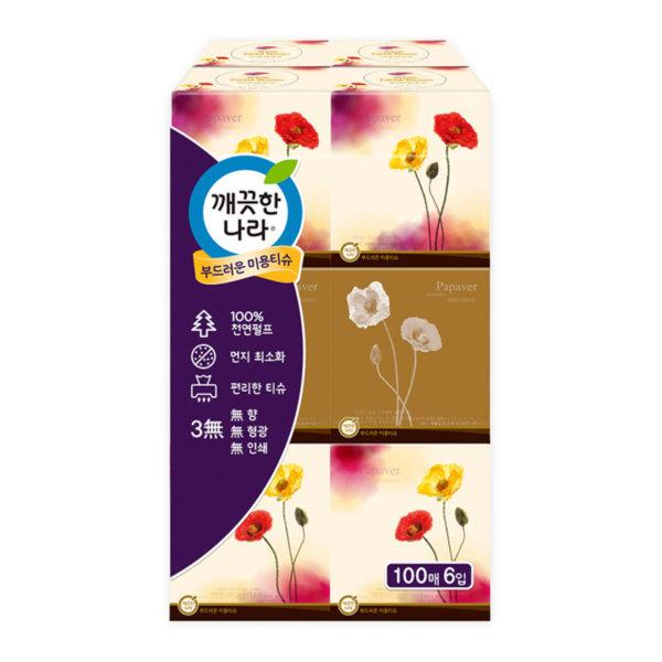 정사각티슈(100매/6개입/깨끗한나라)