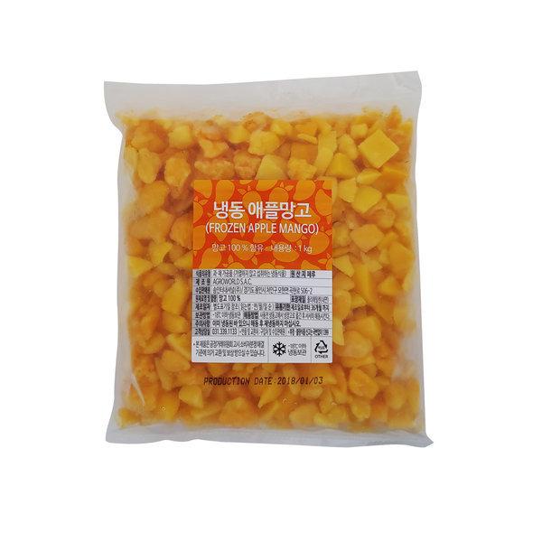냉동애플망고(피스앤바이츠) 2kg ( 1kg X  2팩 ) 솜