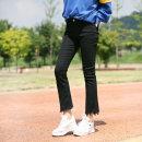 부츠컷 여자청바지 여성팬츠 9부 커팅 블랙팬츠 LP800