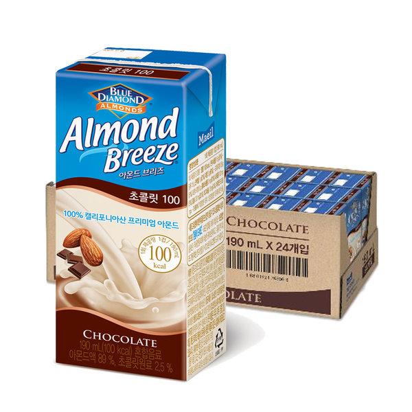 아몬드브리즈 초콜릿 190ml 24팩/두유/초코우유/음료