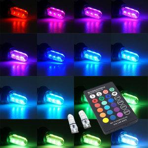오토바이 T10타입 무선리모컨 RGB LED전구 미등