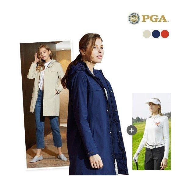 PGA  여성  19 SS PGA 클래식 트렌치 라운딩 재킷 3종 세트(자켓+팬츠+셔츠)