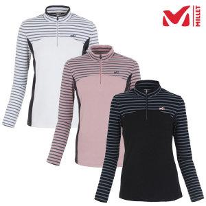 밀레 여성 LD 스트라이프 집업 티셔츠-MCNWT602