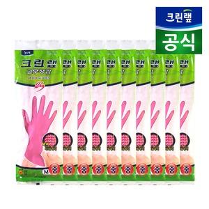 [크린랲] 위생라텍스장갑/ 크린랩 ES 고무장갑 핑크 (중 x 10P)