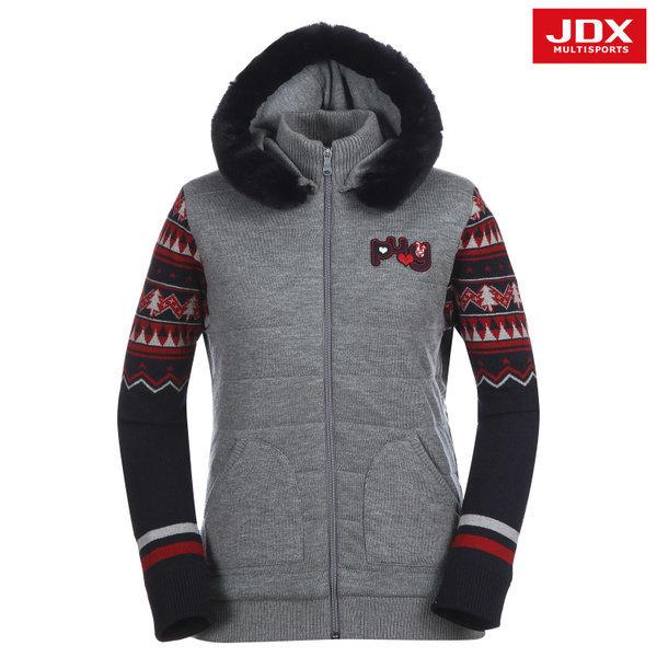 JDX골프스포츠  (여성)소매 자카드 패턴 후드 가디건_X2NWSCW01-MG