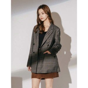 (현대백화점)에이치커넥트 여성 체크 더블 자켓(벨트포함) 30230-111-601-25
