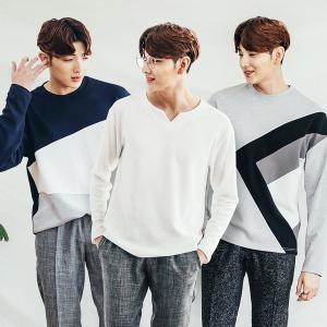 남자 티셔츠/긴팔티/남성배색티/무지티/남자티