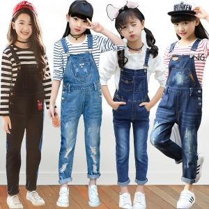 4P 쥬 주니어의류 초등학생옷 여아 멜빵/A주청바지