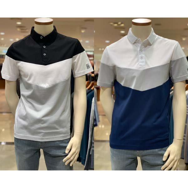 (현대백화점)올젠(ZAY2TT1335/BK/WT) 에어로쿨 원단 블럭 카라 티셔츠