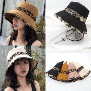 여성 버킷햇 벙거지 자외선차단 모자 호피 포인트
