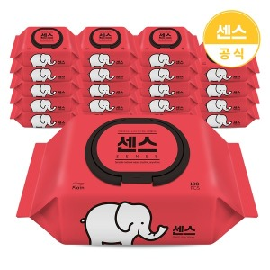 센스 물티슈 코끼리 캡형 100매 10팩+10팩 (총 20팩)
