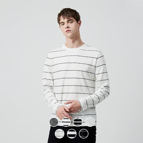 지오다노 029905 코튼 슬럽 스트라이프 티셔츠