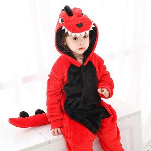 빨간공룡 극세사 캐릭터동물잠옷 아동잠옷 수면잠옷