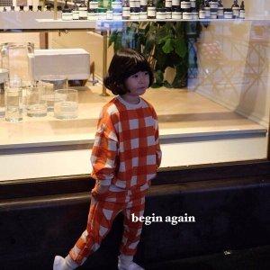 체크체크상하세트 북유럽아기옷 어린이집가을상하복