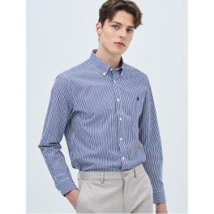 SLIM  Unisex 로열 블루 스트라이프 베이직 셔츠 (BC9164A18N)