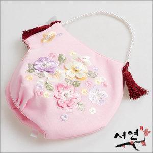 서연한복/분홍꽃자수조바위/한복머리장신구/한복소품
