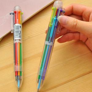 6색 컬러볼펜 원터치 색상전환 볼펜 필기구 수성 펜