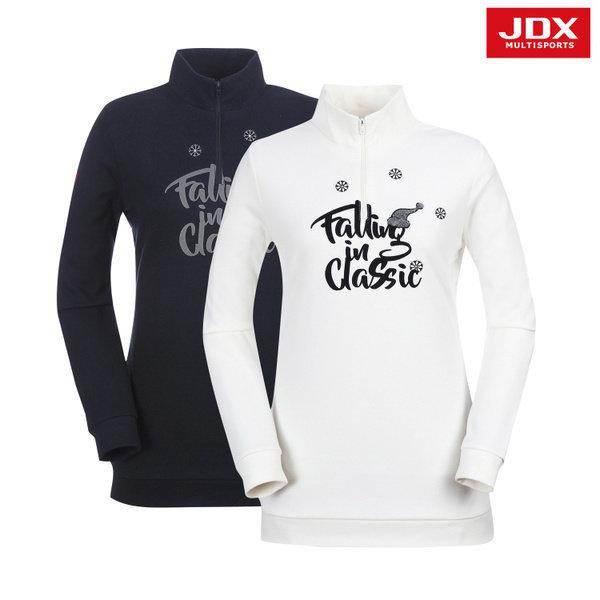 JDX골프스포츠  (여성)퀼팅 포인트 반집업 티셔츠_X2NWTLW03