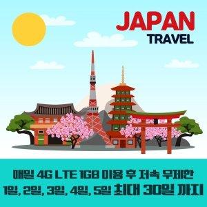 일본유심 4G LTE 매일 1GB 사용후 저속무제한 11일/택
