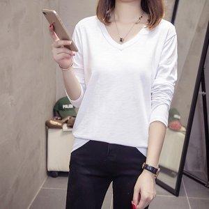 국내생산 여성 브이넥 무지 화이트 면티 긴팔 티셔츠