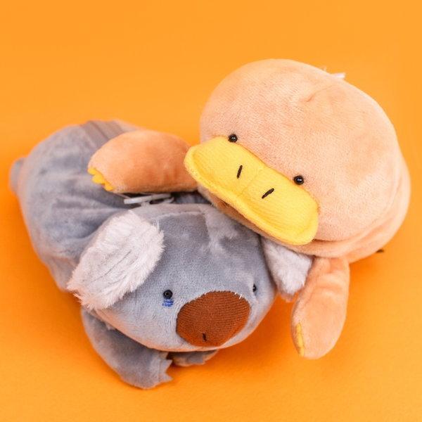 (바보디자인)오리너구리 코알라 동물 필통 봉제 캐릭