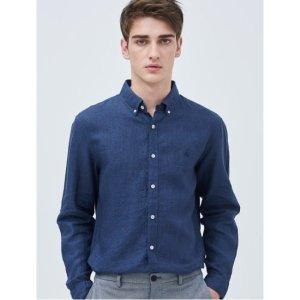 빈폴  SLIM  로열 블루 리넨 솔리드 옥스포드 셔츠 (BC9364A07N)