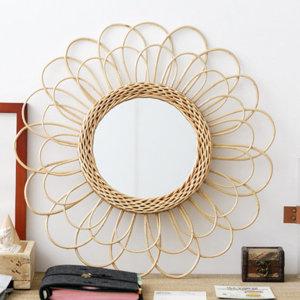 팝바나나 라탄 플라워 라운드 인테리어 거울