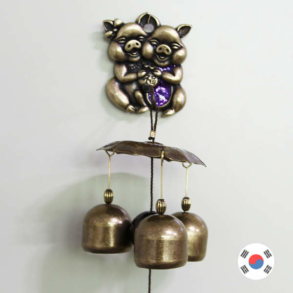 (현대Hmall)돼지 커플 황동 도어벨 3종 HDB-302  맑은종/문종/국내제조