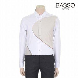 바쏘옴므 화이트 컬러블록 배색포인트 캐주얼셔츠 (WSR3TA48A)