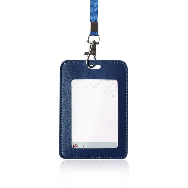 가죽-ID 명찰(세로형)-네이비 3개입(줄포함) x2 신분