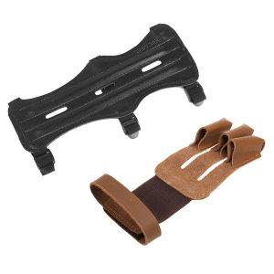 가죽 양궁 3스트랩 팔 가드+3핑거 장갑 사냥 슈팅