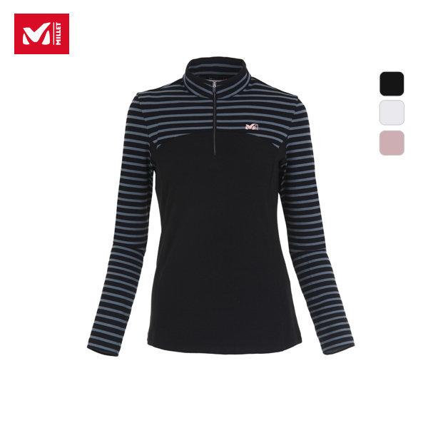 MILLET 밀레 여성 스트라이프 집업 티셔츠 MCNWT602