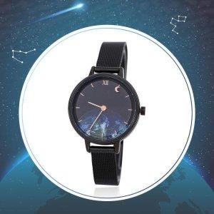 (신세계김해점) 우주시계  지구밤하늘 달빛 블랙메쉬시계 OTW119717TBB