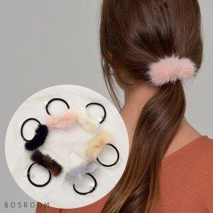 (보스룸)  BOSROOM 여자 리얼 모피 밍크 리본 머리끈 헤어끈 고무줄 헤어 액세서리 6컬러