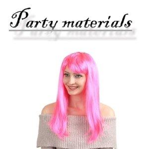 코스프레 긴생머리 가발-핑크 패션잡화 패션가발 가발