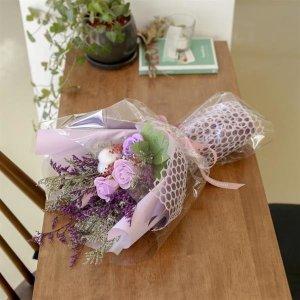 오래 생화 프리저브드 장미 비누 꽃다발 퍼플 졸업식