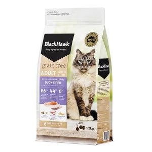(캣닢사탕+양모볼 증정) 블랙호크 그레인프리 캣 어덜트 1.2kg (오리와 생선)/ 고양이왕국