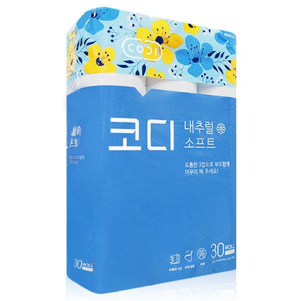 쌍용씨앤비 코디 내추럴 소프트 3겹 30롤~휴지 화장지