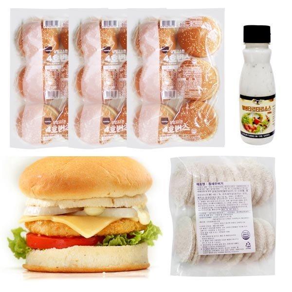 새우버거 만들기세트 18인분/햄버거 햄버거재료
