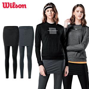 윌슨 기모 치마레깅스 겨울 발열 기모레깅스