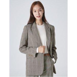 에잇세컨즈 옐로이시 브라운 체크 레귤러 싱글 재킷 (329811LY6B)