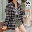 벨른 체크 루즈핏 셔츠 45474 빅사이즈 여성의류