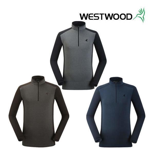 (현대백화점) 웨스트우드 남성 긴팔 스트라이프 집업 티셔츠 WI3MTTS303 :