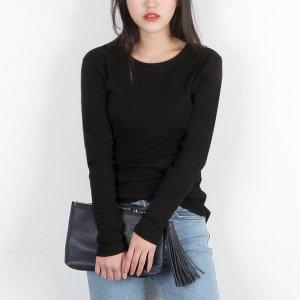 베이글 면스판 여성 라운드 긴팔 티셔츠 여자티셔츠