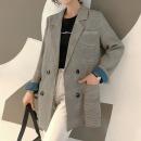 여성자켓 심플 체크 아우터 여자정장 가을신상 코트